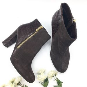 Iman Brown Leather High Heel Ankle Booties 8